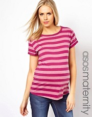 ASOS Maternity Exclusive Boyfriend T-Shirt In Marl and Solid Stripe