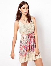 Warehouse Dress In Border Print Floral
