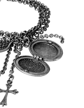 Image 4 ofReligion Locket and Cross Charm Chain Bracelet