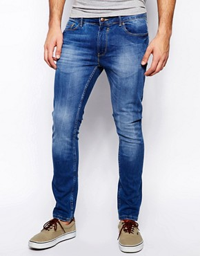 River Island Sid Skinny Jeans in Light Mid Wash