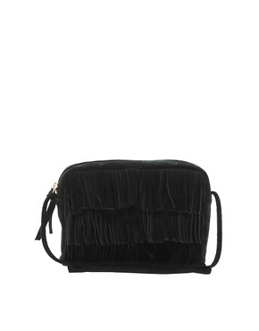 Image 1 ofASOS Suede Fringe Across Body Bag