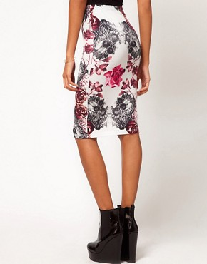 Image 2 ofASOS Pencil Skirt in Rose and Lace Print