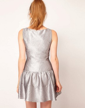 Image 2 ofWarehouse Metallic Skater Dress