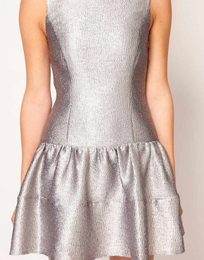Image 3 ofWarehouse Metallic Skater Dress