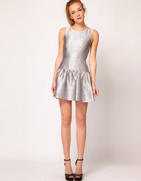 Image 4 ofWarehouse Metallic Skater Dress