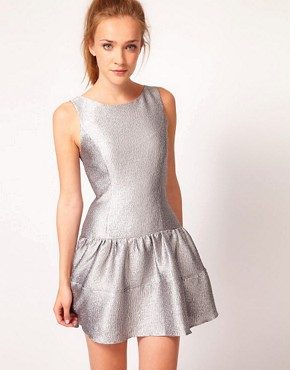 Image 1 ofWarehouse Metallic Skater Dress