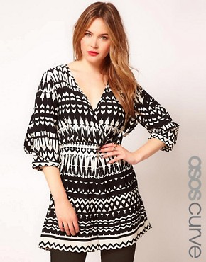 Image 1 ofASOS CURVE Exclusive Playsuit In Mono Print