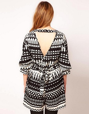Image 2 ofASOS CURVE Exclusive Playsuit In Mono Print