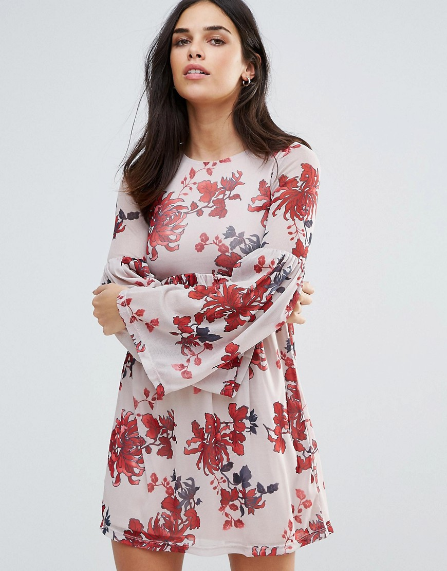 Oh My Love Bell Sleeve Printed Smock Dress - White