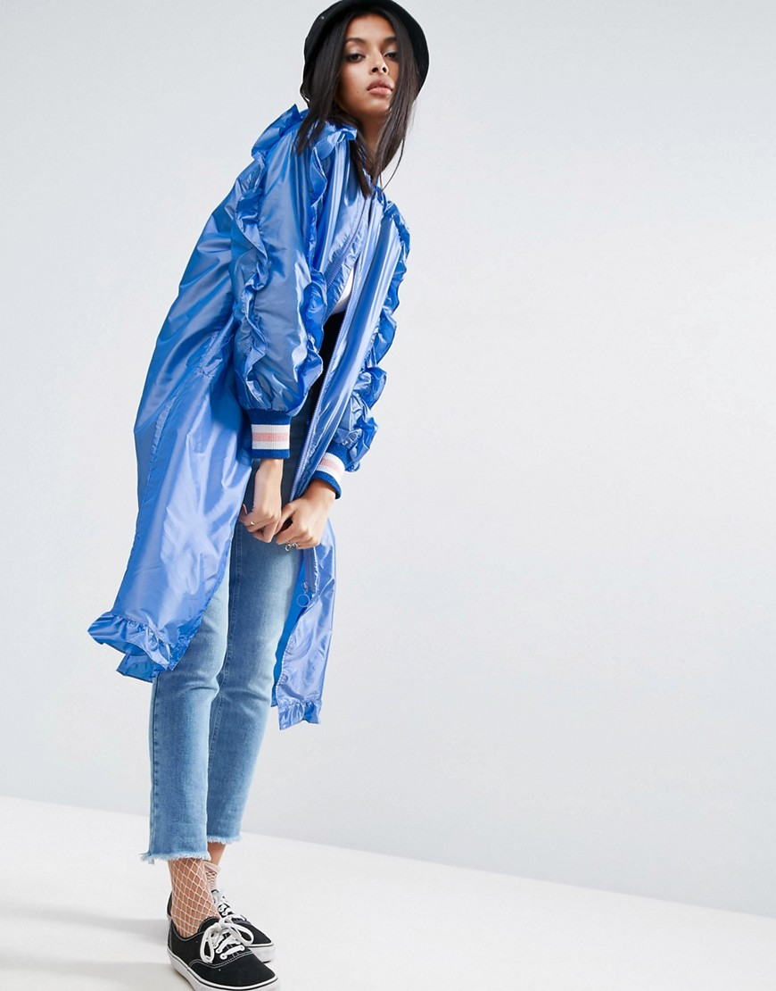 ASOS Long Festival Rainmac With Frills - Blue