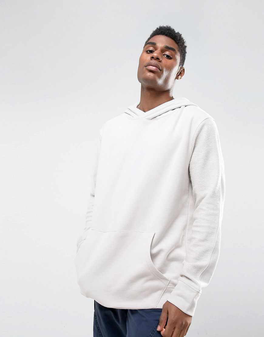 Mennace Dropped Shoulder Hoodie In Off-White - White