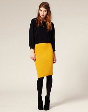 Image 1 ofASOS Ribbed Jersey Pencil Skirt