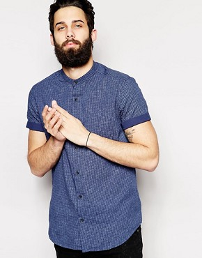New Look Short Sleeve Shirt in Textured Fabric with Grandad