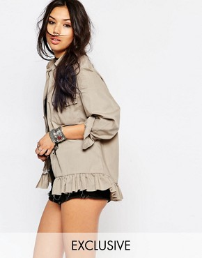Milk It Vintage Oversized Shirt Jacket With Frill Hem