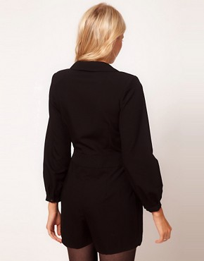 Image 2 ofASOS PETITE Exclusive Playsuit With Deep V Neckline And Long Sleeves