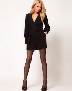 Image 4 ofASOS PETITE Exclusive Playsuit With Deep V Neckline And Long Sleeves