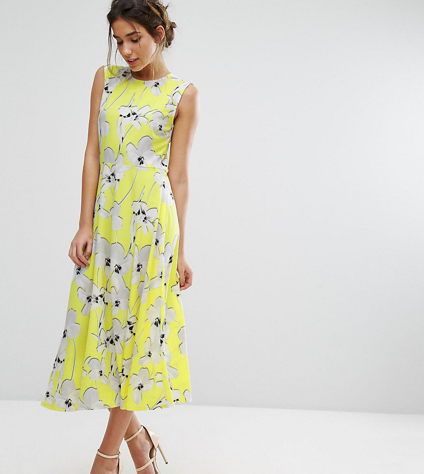 Every Cloud Graphic Floral Midi Dress
