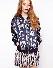 House of Hackney  Bomberjacke aus Seide mit Hackney-Empiredruck