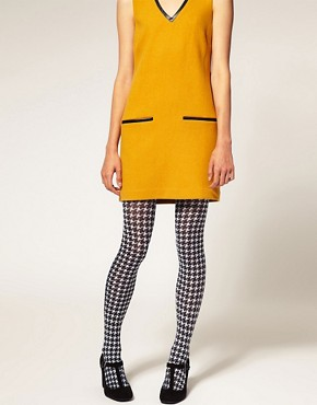 Image 1 ofASOS Large Dogtooth Print Tights