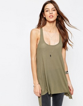 ASOS Vest With Step Back Hem In Rib