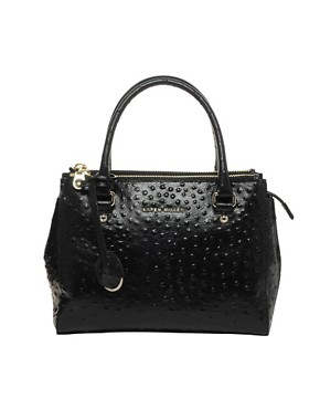 Image 1 ofKaren Millen Signature Leather Ostrich Small Bag