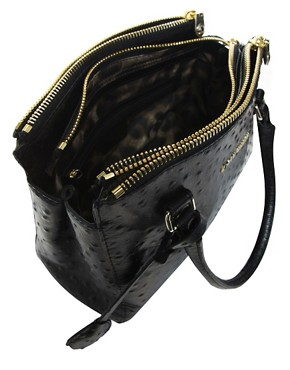 Image 2 ofKaren Millen Signature Leather Ostrich Small Bag