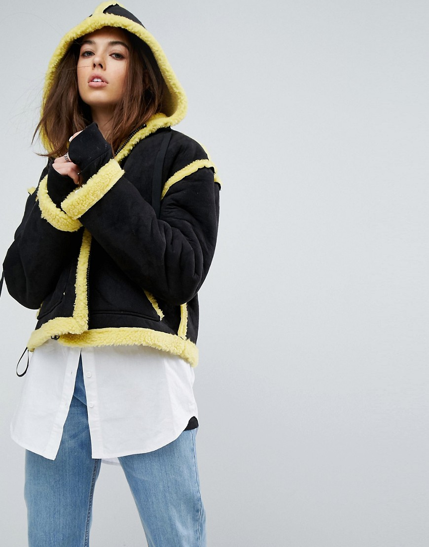 Story Of Lola Faux Shearling Jacket With Contrast Seams - Black