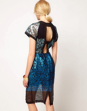 Image 2 ofASOS BLACK Midi Dress with Foil Print