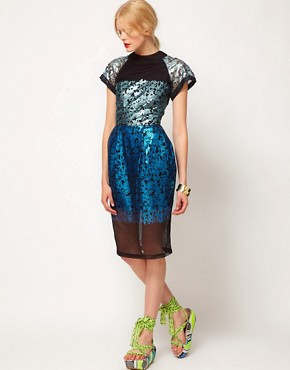 Image 4 ofASOS BLACK Midi Dress with Foil Print