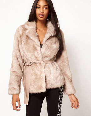 Image 1 ofLipsy Belted Faux Fur Jacket