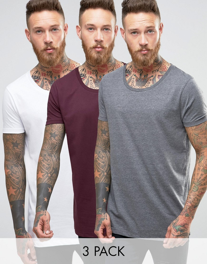 ASOS 3 Pack Longline T-Shirt With Raw Scoop Neck In White/Charcoal/Oxb
