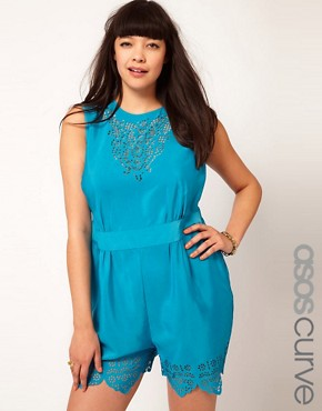 Image 1 ofASOS CURVE Laser Cut Playsuit
