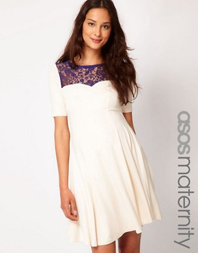 Image 1 ofASOS Maternity Skater Dress With Lace Insert