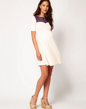 Image 4 ofASOS Maternity Skater Dress With Lace Insert