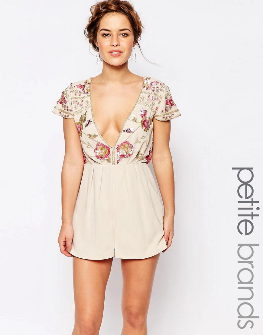 Maya Petite Romper With Embellished Top And Plunge Neck - Cream