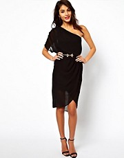 ASOS One Shoulder Dress With Drape Side