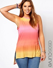 ASOS CURVE Exclusive Vest In Summer Dip Dye