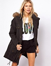 ASOS Fur Hooded Parka with Quilted Lining