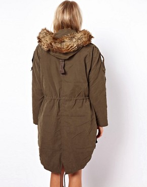 Image 2 ofASOS Fur Hooded Parka with Quilted Lining