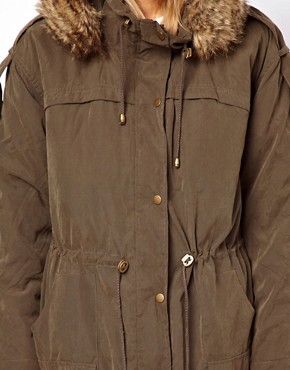 Image 3 ofASOS Fur Hooded Parka with Quilted Lining