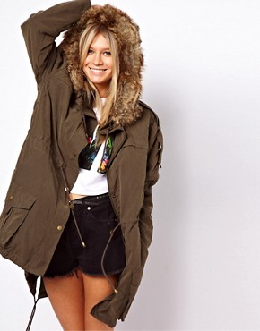 Image 1 of ASOS Fur Hooded Parka with Quilted Lining