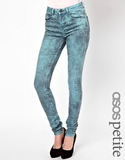 ASOS PETITE Ridley Supersoft High Waisted  Ultra Skinny Jeans In Aqua Marble Wash