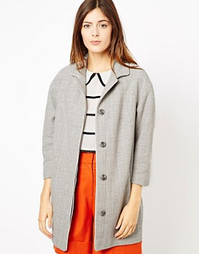 Image 1 ofASOS Piped Cocoon Coat