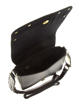 Image 4 of ASOS Leather Plate Corner Across Body Bag