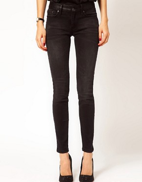 Image 1 ofMango Leather Look Waistband Jean