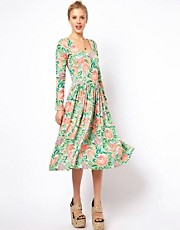ASOS Midi Skater Dress In Pixelated Floral Print