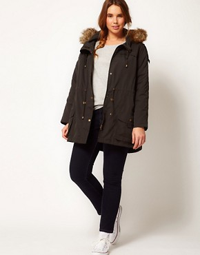 Image 4 ofASOS CURVE Oversized Hooded Parka