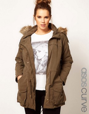 Image 1 ofASOS CURVE Oversized Hooded Parka
