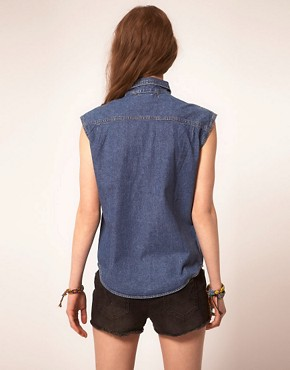 Image 2 ofJervoise Eye Swirl Pocket Sleeveless Denim Shirt