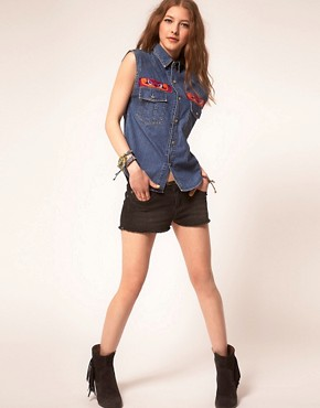 Image 4 ofJervoise Eye Swirl Pocket Sleeveless Denim Shirt